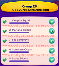 CodyCross Under the Sea Group 26 Answers