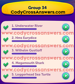 CodyCross Under the Sea Group 34 Answers
